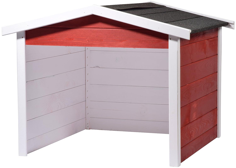 dobar 56199e Robot cortacésped de garaje de madera, césped Robot de CarPort, 87x 80x 70cm, blanco y rojo de antracita