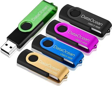 5 Piezas PenDrives 16GB DataOcean Memorias USB 2.0 Giratoria ...