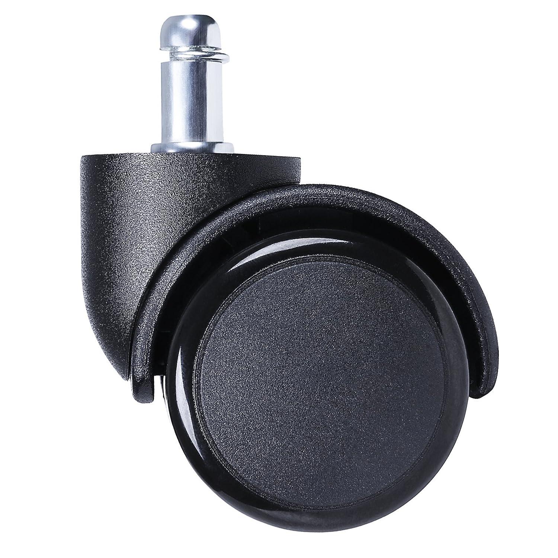 SONGMICS 5 Ruote Sedie da Ufficio per Pavimenti Duri, Ruote per Sedia Girevole Sedia direzionale Ruota per Poltrona11 mm/50 mm OBG101