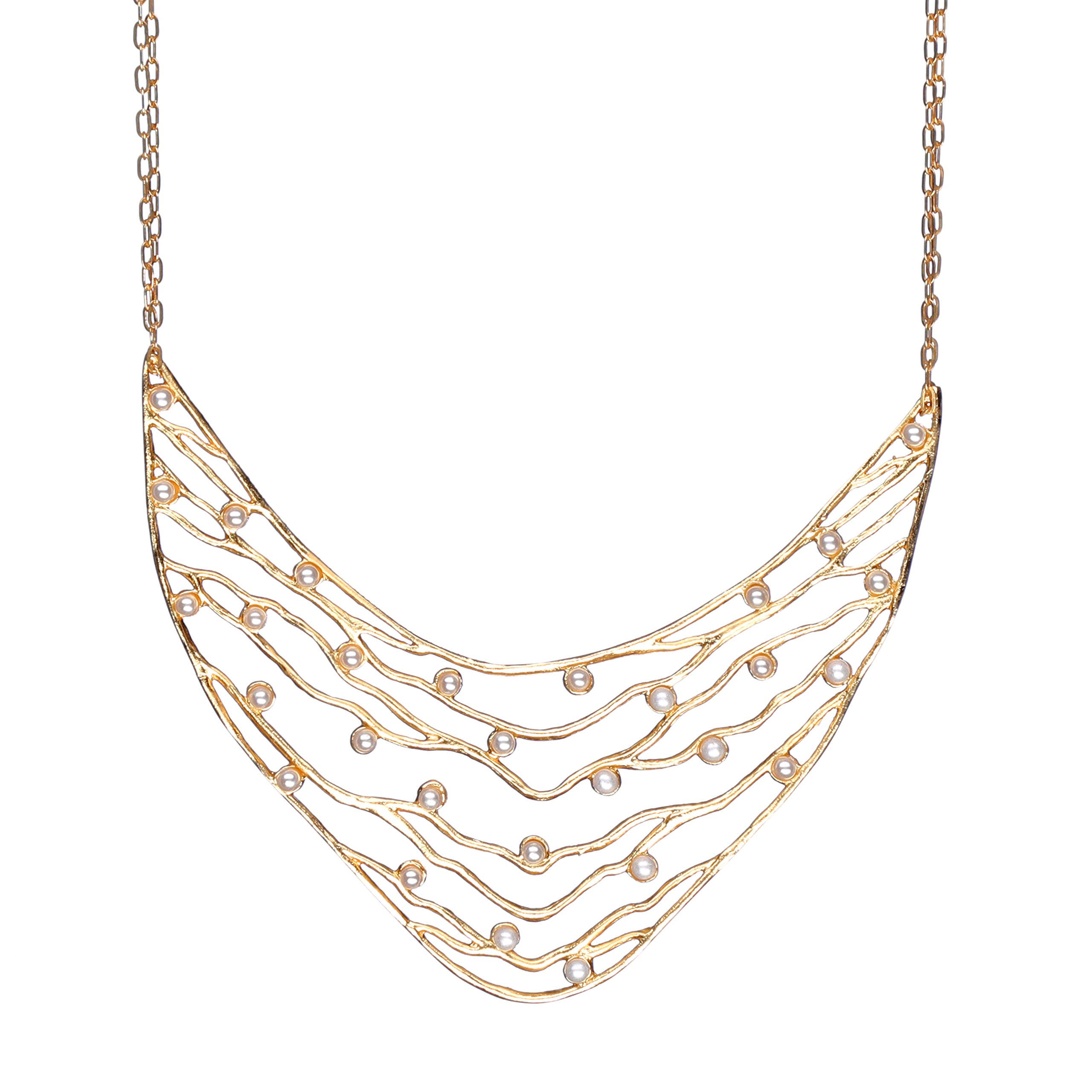 Intricate Branches Pearl Collar Necklace (24k Gold-Plated, Simulated Pearls) by Mercedes Shaffer