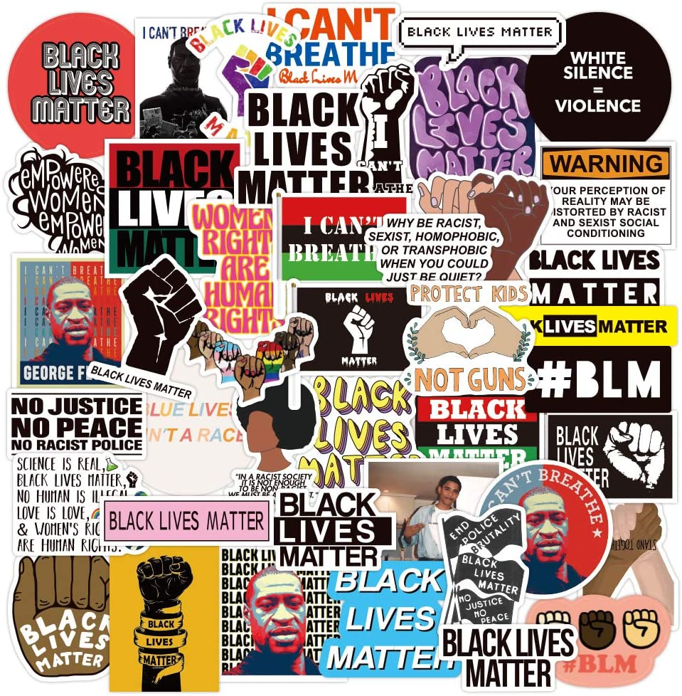 Black Lives Matter Stickers |50 Pcak | Vinyl Waterproof Stickers for Laptop,Bumper,Water Bottles,Computer,Phone,Hard hat,Car Stickers and Decals,(Black-50)
