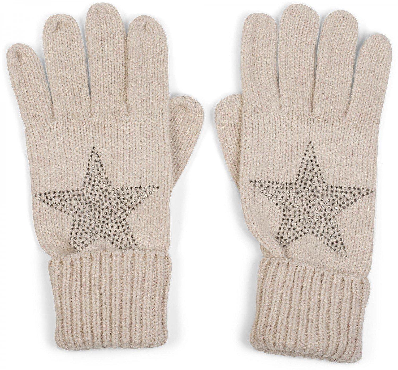 styleBREAKER warme Handschuhe mit Strass Nieten Stern Applikation und doppeltem Bund, Strickhandschuhe, Damen 09010008 Farbe:Beige