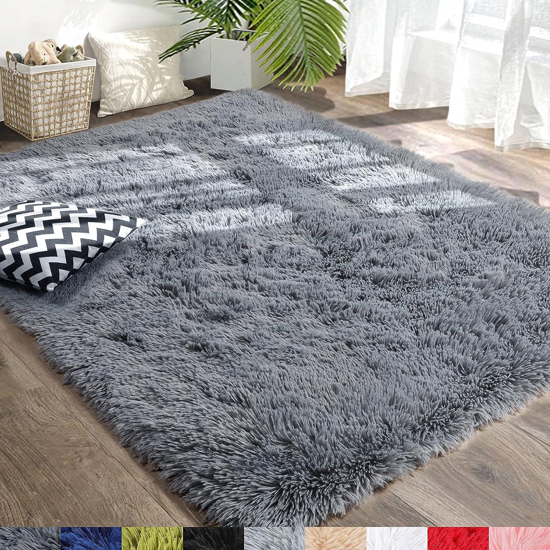 Amangel Grey Super Soft Rugs for Living Room, 5' x 7', Fluffy Area Rug for Bedroom, Large Shaggy Plush Rugs for Kids Girls Boys Room, Non-Slip Fuzzy Rug for Nursery Dorm, Home Decor Floor Carpet