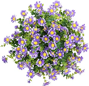 Greentime 6pcs Artificial Flowers Mums for Outdoors,Fake UV Resistant Boxwood Shrubs,Faux Hanging Plants Flowers Artificial for Decorations Garden Porch Party Wall Indoor Farmhouse (Purple)