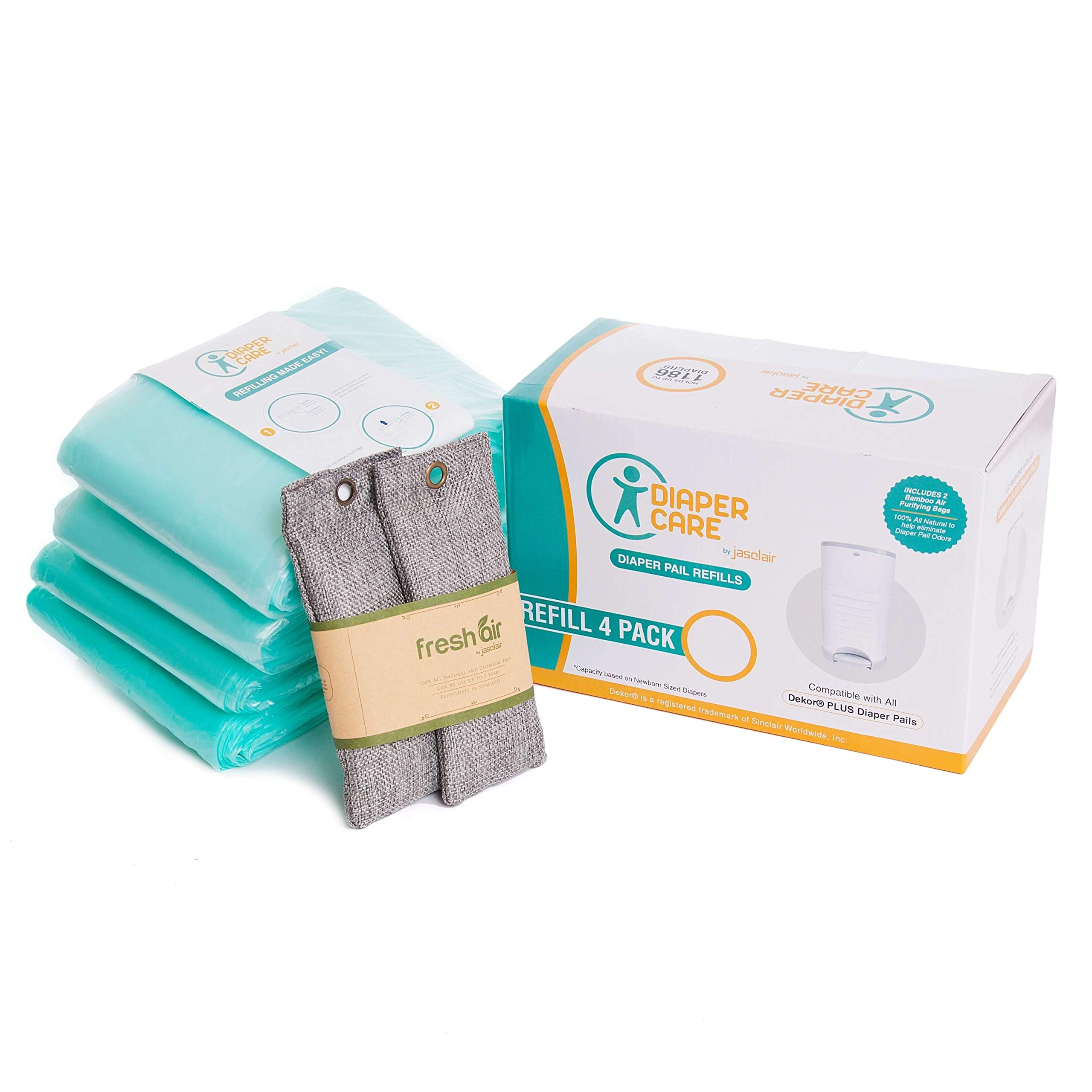 4 Pack Diaper Refill Liners - Compatible with Dekor PLUS Refill - Disposable Diaper Pail Liners Hold Up To 2372 Diapers – Baby Scented Refills with Natural Bamboo Charcoal Odor Smell Eliminator Bags