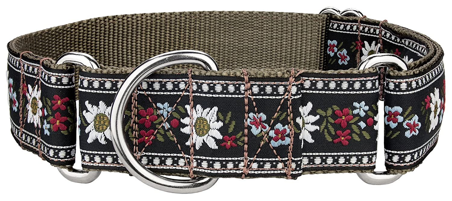 Large, 1 1 2 Inch Wide Country Brook Design   Queen of The Alps Woven Ribbon Martingale Collar Large