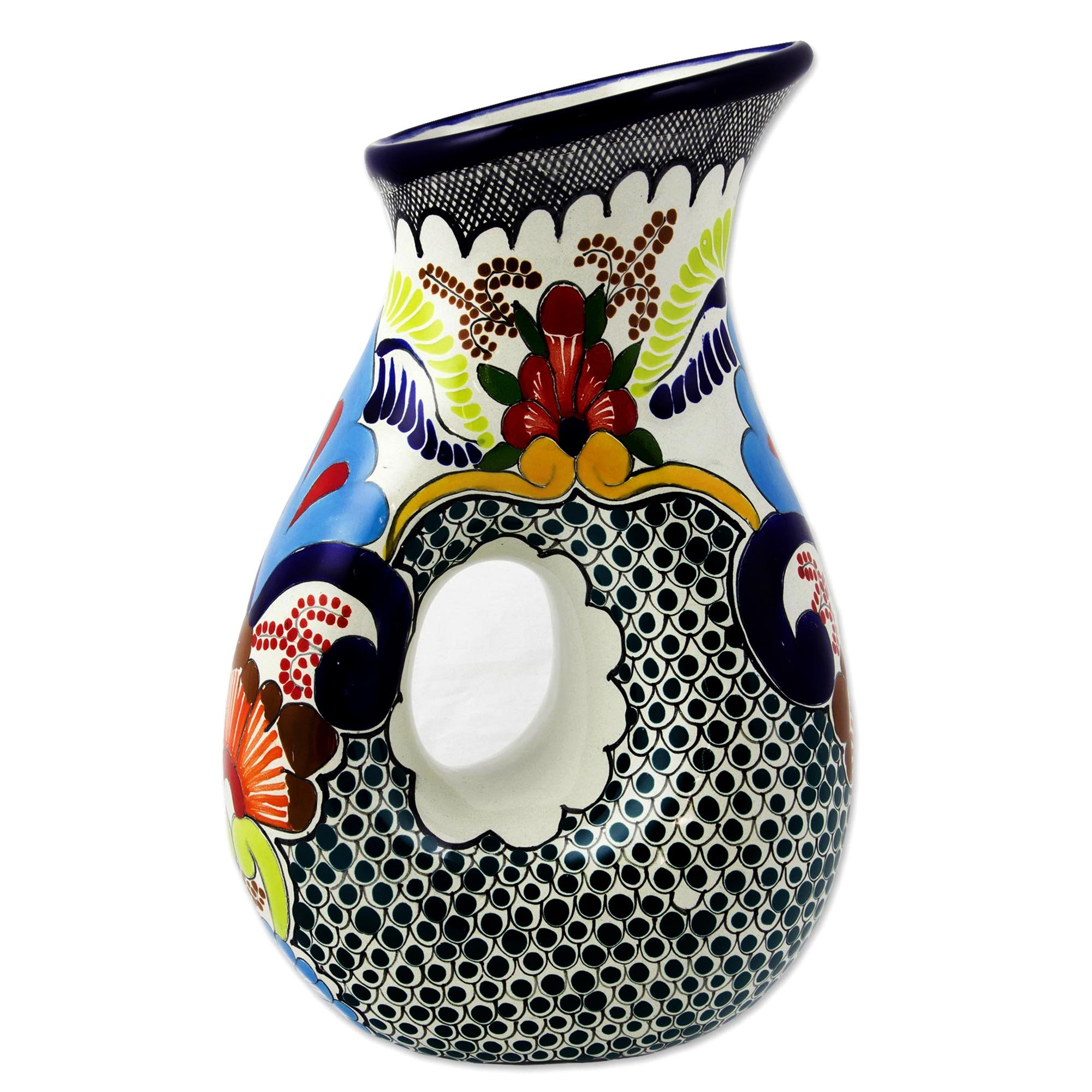 NOVICA Multicolor Floral Ceramic Pitcher, 47 oz. 'Blue Teziutlan' by NOVICA