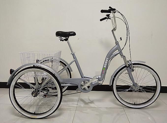 SCOUT Triciclo para Adulto, Cuadro de aleación, Plegable, 6 Marchas, con suspensión Delantera - Gris: Amazon.es: Deportes y aire libre