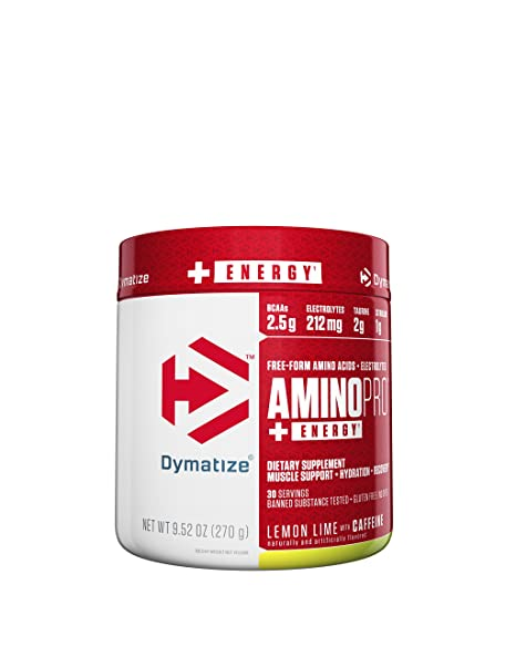 Dymatize Nutrition Amino Pro - 270 g (Lemon Lime with Caffeine) BCAAs at amazon