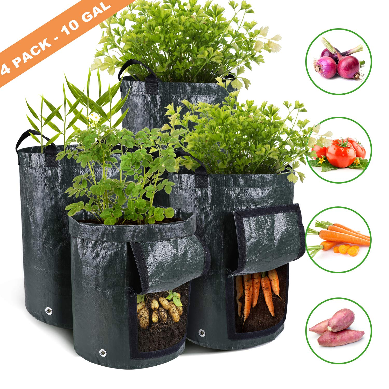 Ohuhu 4-Pack 10 Gallon Garden Potato Grow Bags, Vegetables Plant Growing Bags, Durable Planter Bags, Upgraded PE Aeration Pots with Portable Access Flap Handles, for Potato, Tomato, Carrot etc