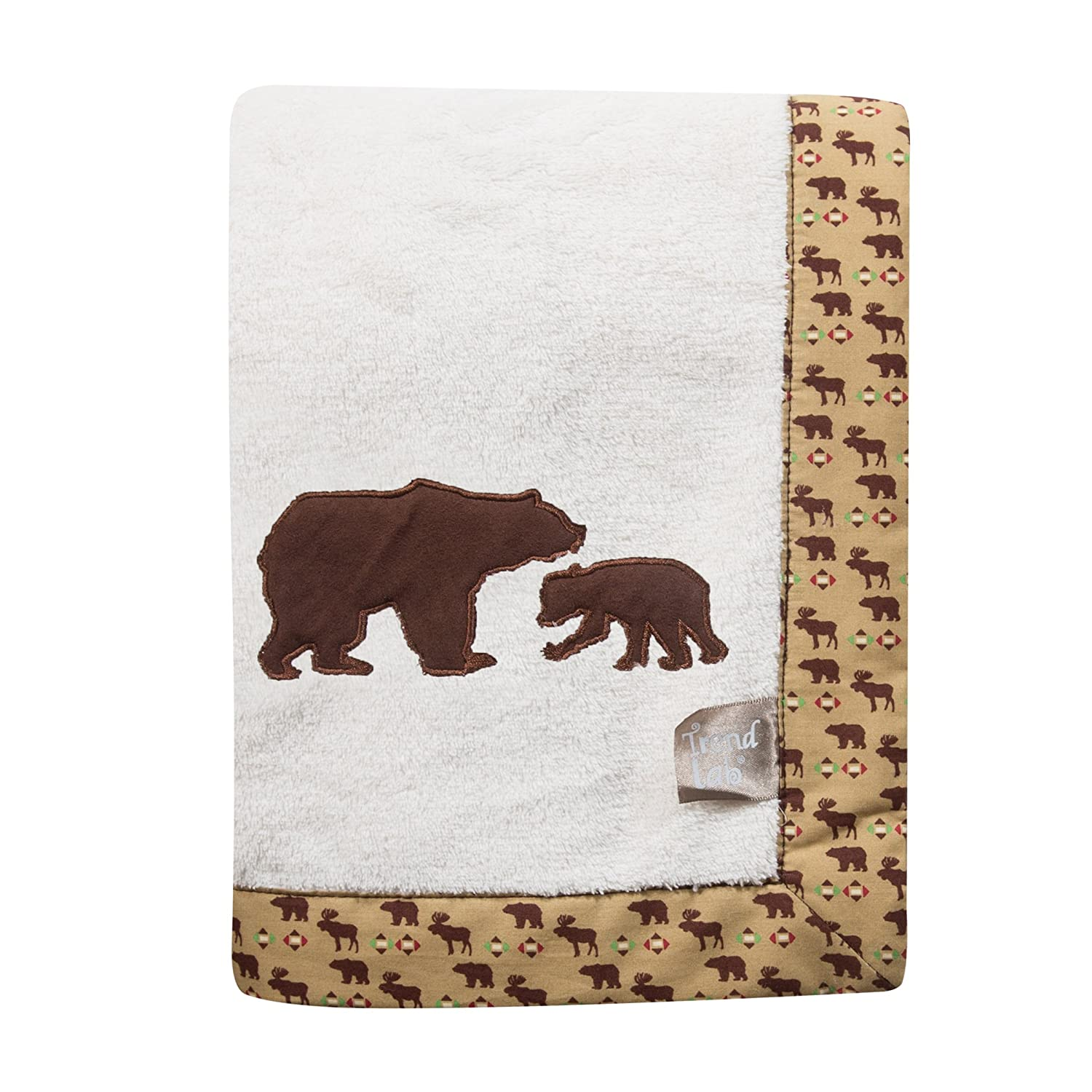 Trend Lab Northwoods Framed Receiving Blanket, Bears Applique 100275