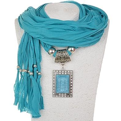 Amazon sumaju charm scarf necklace shawl necklace scarves sumaju charm scarf necklace shawl necklace scarves pendant teal long soft bohemian fabric resin aloadofball Images