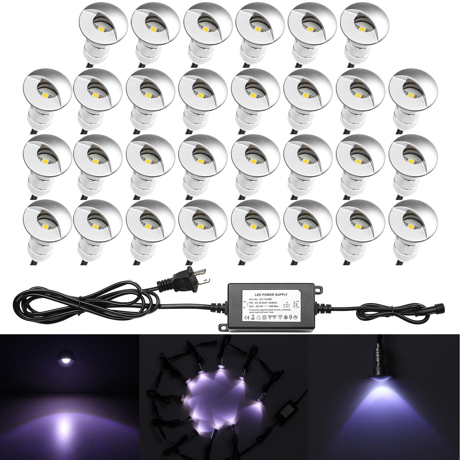 30pcs QACA LED Deck Light Kits 1-1/25'' Half Moon Aluminum Outdoor Wood Deck Lighting Yard Garden Patio Stair LED Light Decoration Lamps, Cold White