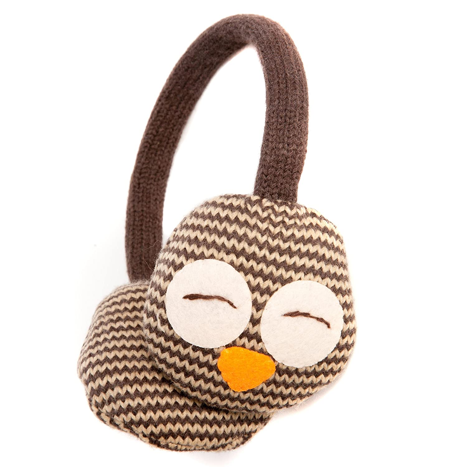 Cute Brown Sleepy Owl Style Winter Thermal Fashion Earmuffs - Onesize fits most