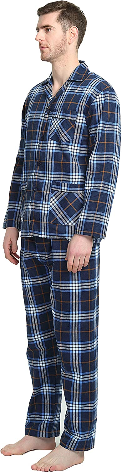GLOBAL Mens Pyjamas 100/% Cotton Comfortable Flannel Sleepwear Long-Sleeve top and Bottom Flannel Pyjamas Sets