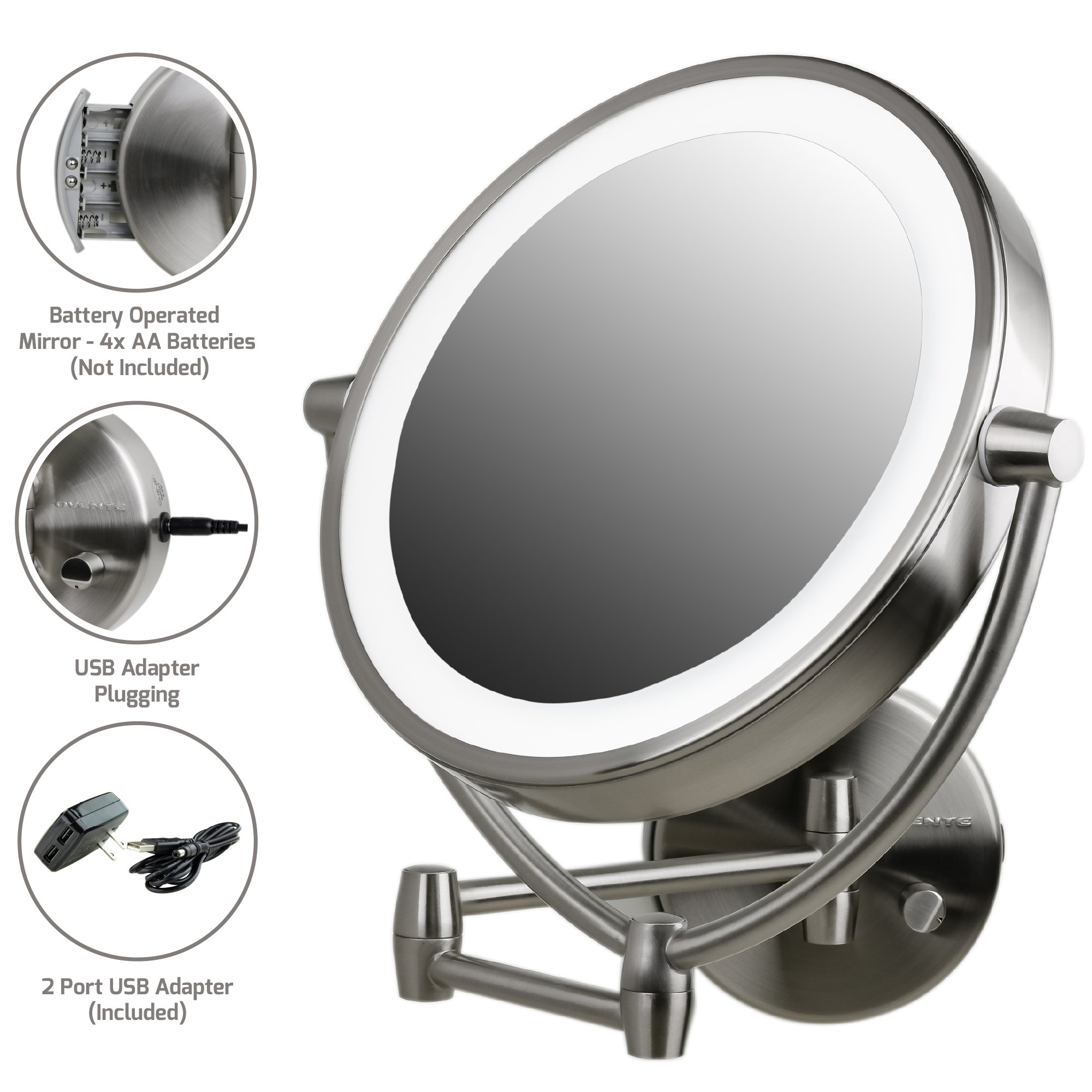 Ovente Wall Mount Mirror, Battery or USB Adapter Operated, Dimmable LED Lighted Makeup Mirror, 1x/10x Magnification, 9.5'', Nickel Brushed (MLW45BR1x10x)