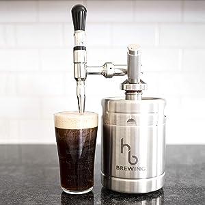 Nitro Cold Brew Coffee Maker – Mini Keg Dispensing System - Home Brew Kit - by HB Brewing