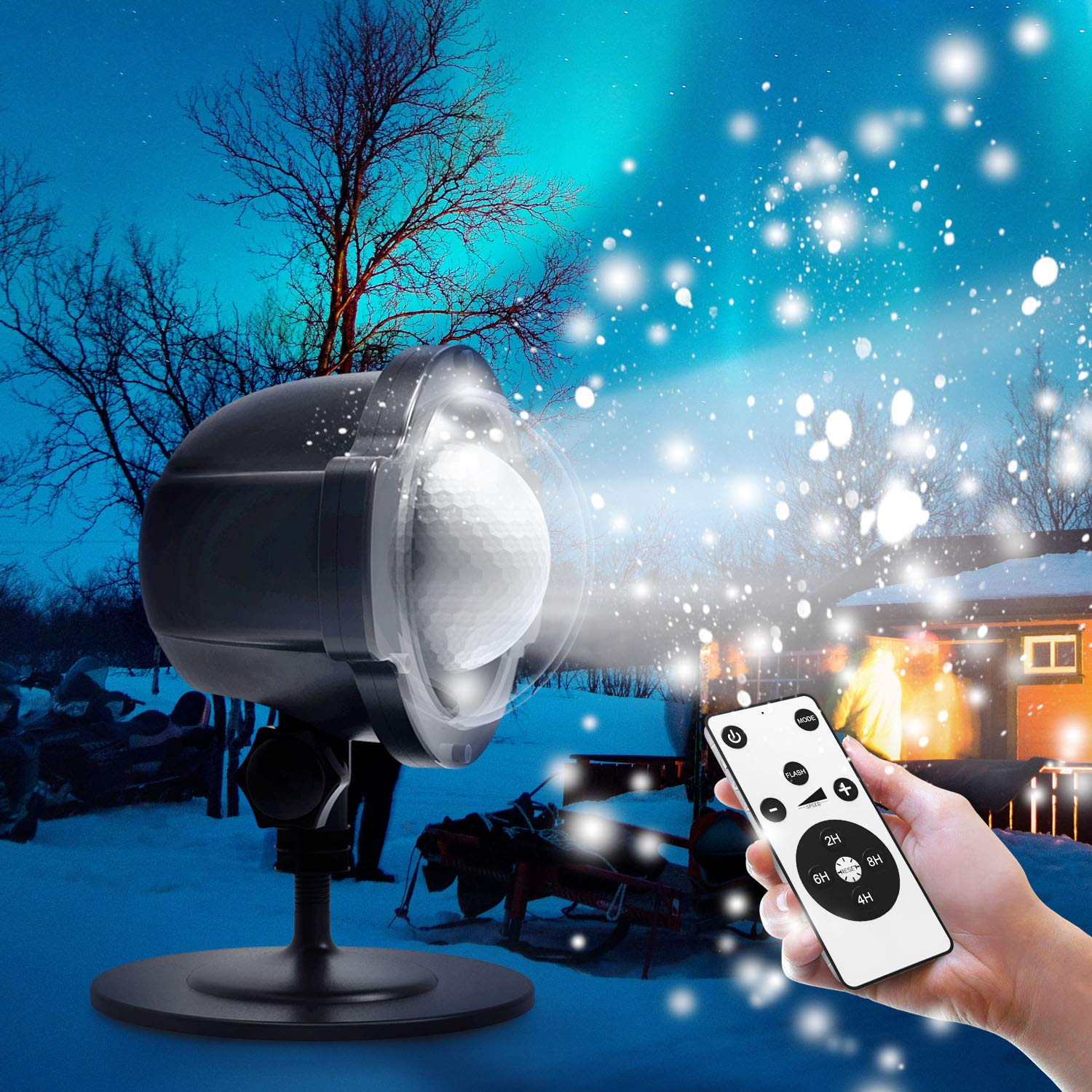 Christmas LED Snowflake Projector Decorations, Fenvella White Snow Falling Night Lights IP65 Waterproof Outdoor Indoor Landscape Decorative Lighting with Remote & Timer for Garden Party New Year Xmas