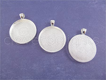 """25mm 1/"""" 1 Inch Round Star Pendant Trays Silver"""