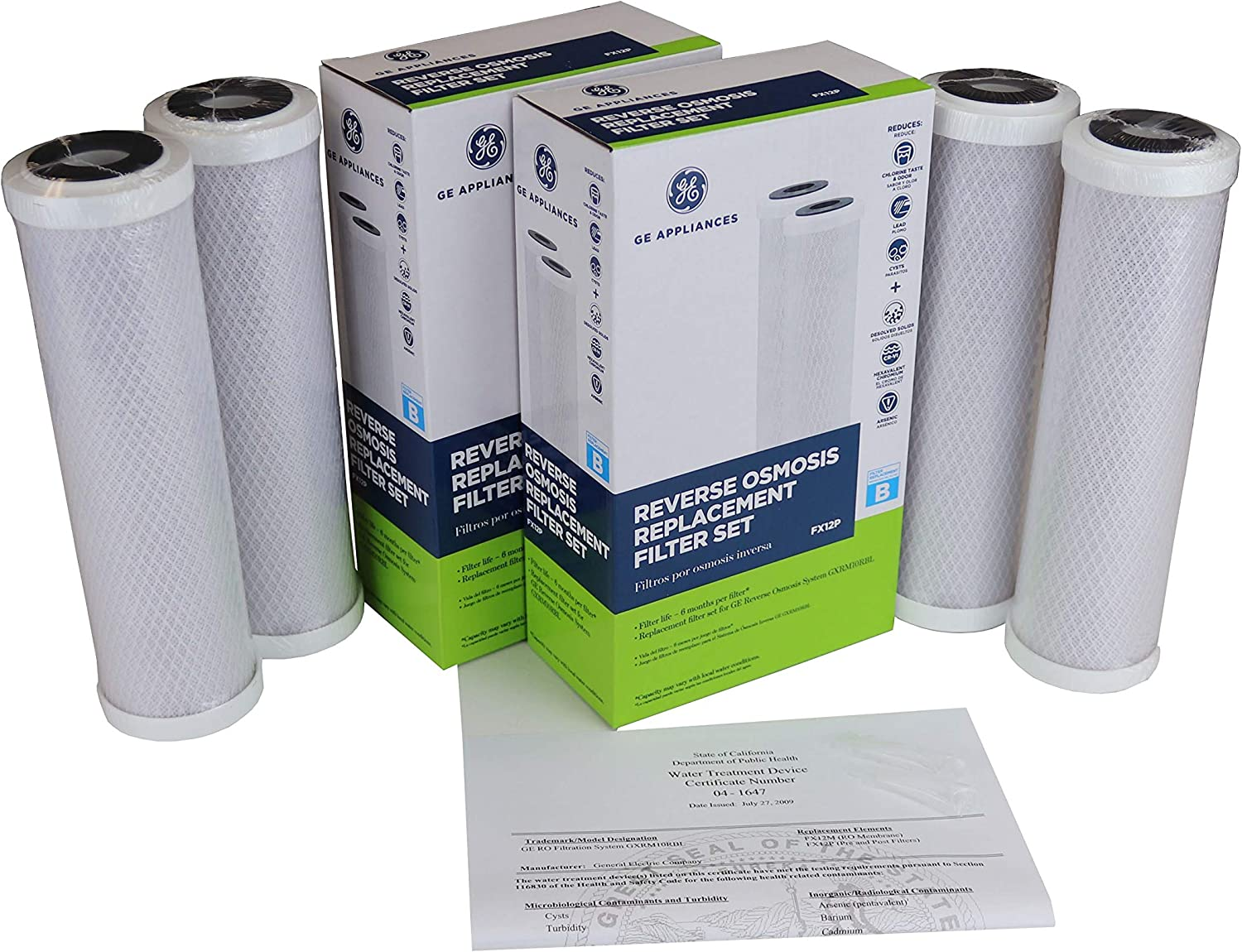 Double-up, 2x Genuine GE FX12P replacement filters for GE GXRM10RBL RO systems includes retail boxes, silicon O-ring lubricant, instruction, certificate, 2 boxes or 4 filters also for GE PNRV12 GXRV10