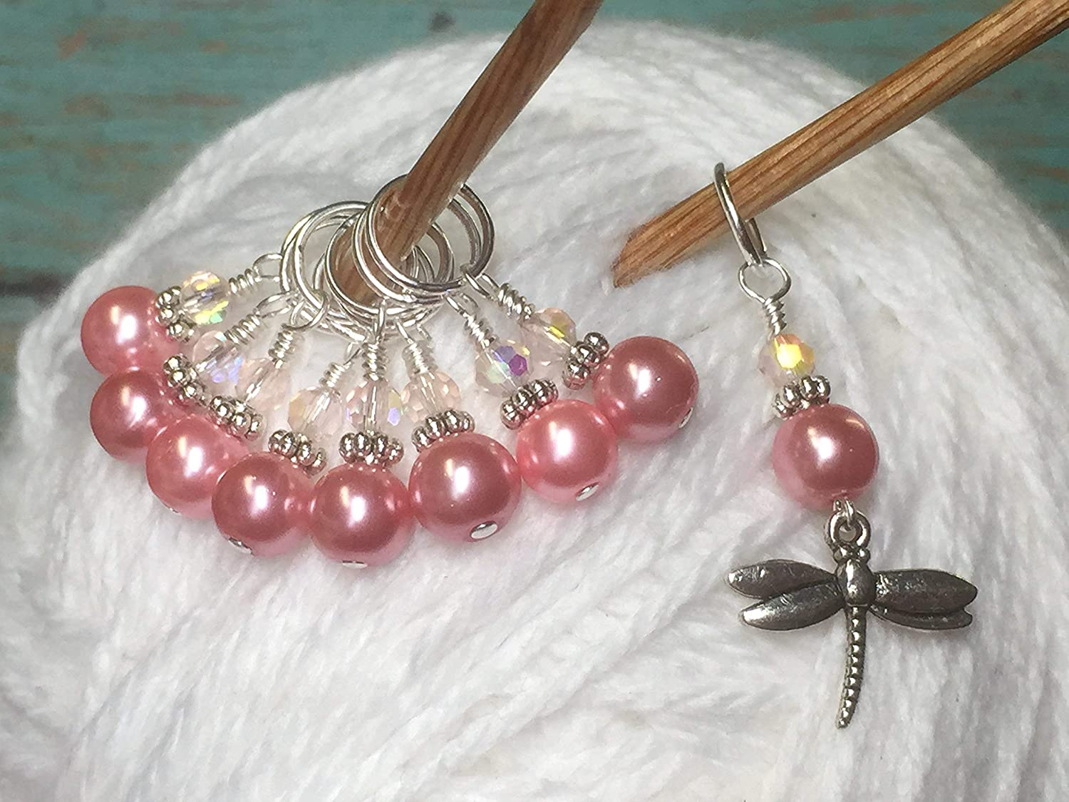 Snag Free Pink Dragonfly Knitting Stitch Marker Set