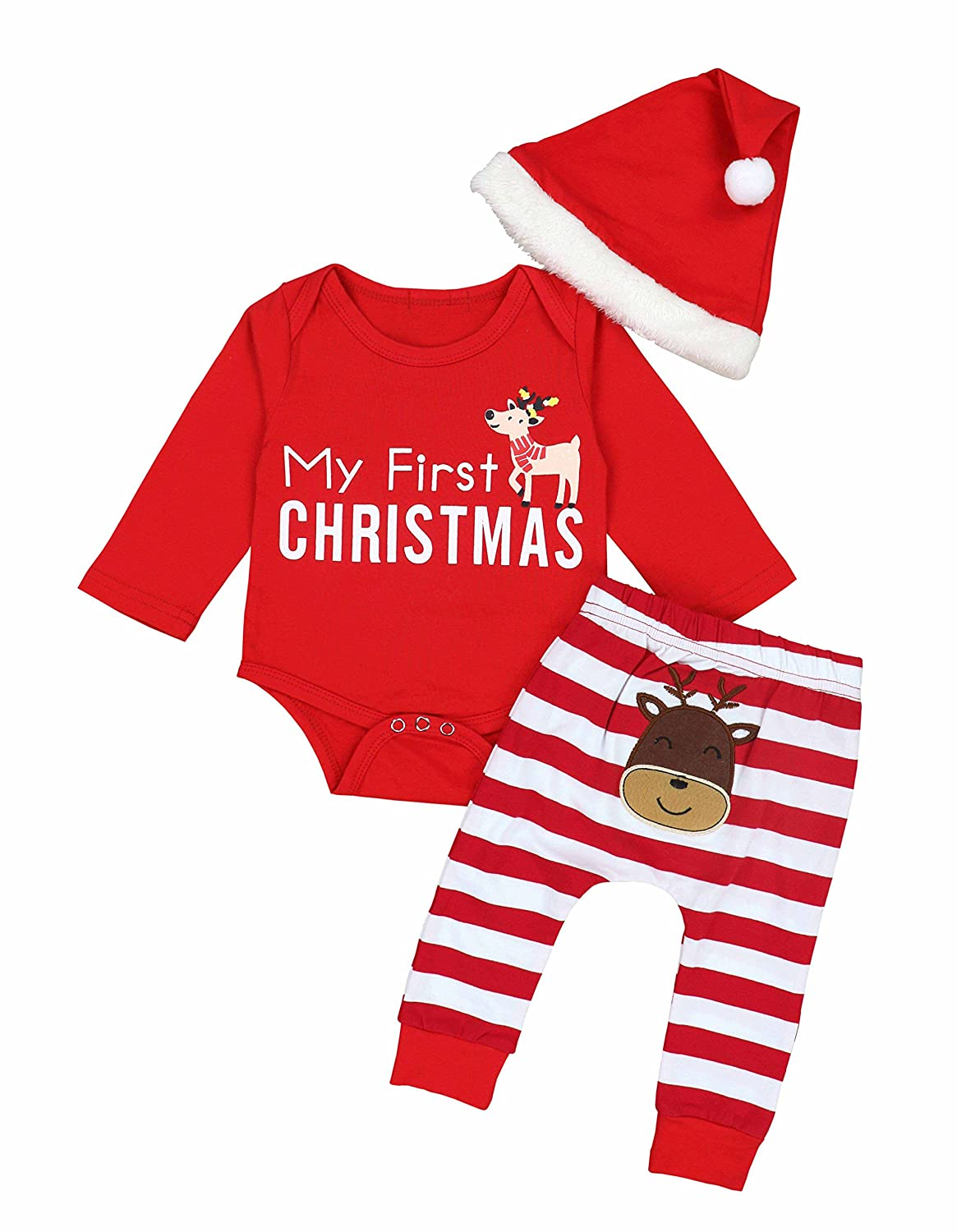 Doding Christmas Outfits Baby Boys Girls My First Christmas Rompers With Xmas Hat Clothes Set