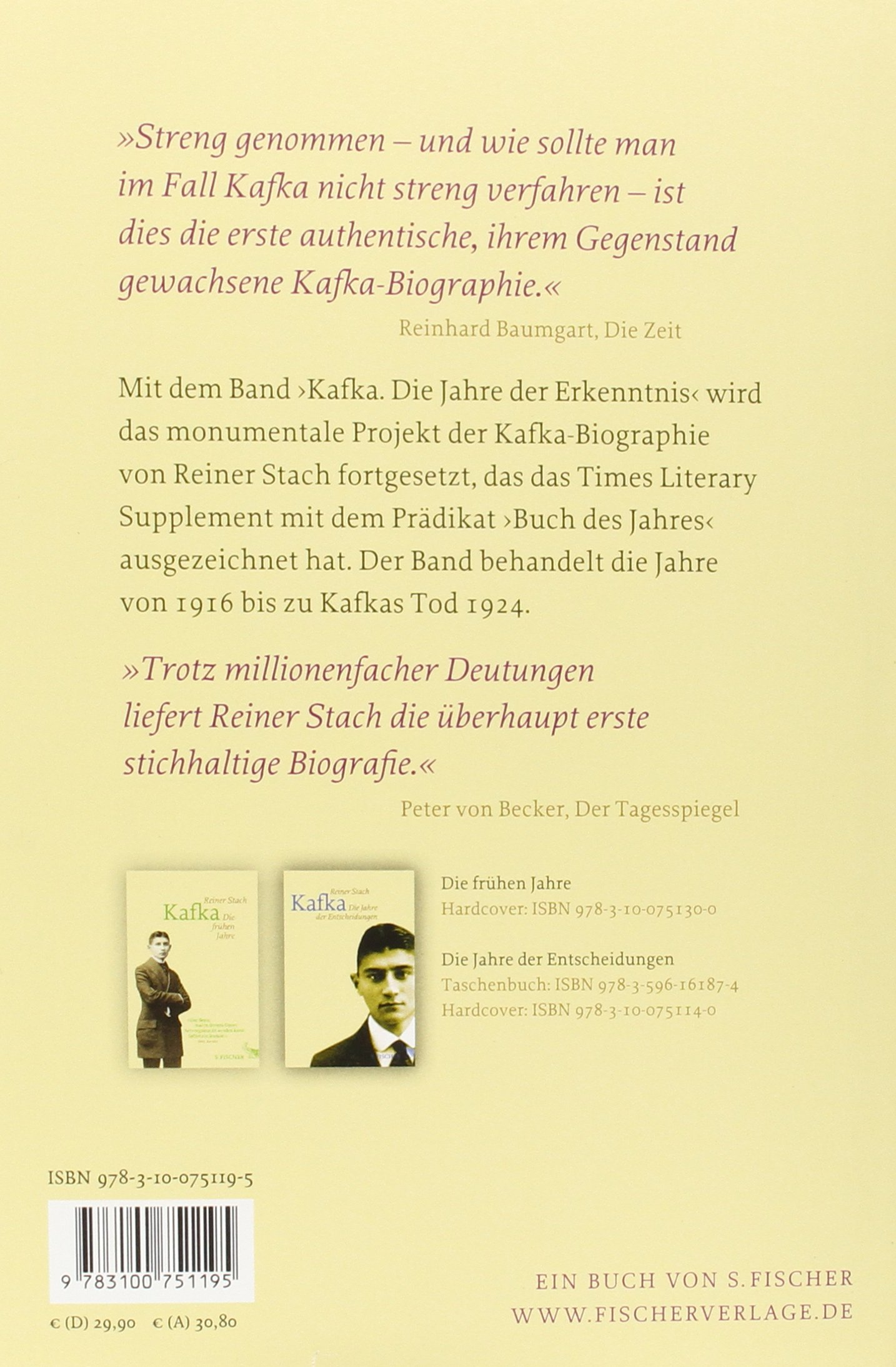 Kafka Die Jahre Der Erkenntnis Amazon Reiner Stach Bücher