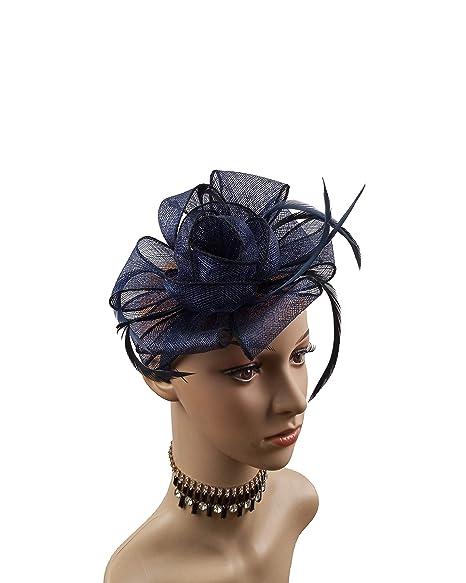 99d6e21fef714 High-Fashion Women Sinamay Fascinator Headband Clip Head Piece for Tea  Party Racing Debery Church