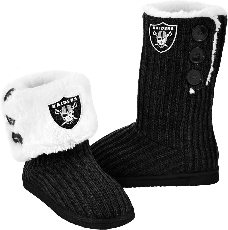 FOCO NFL Knit High End Button Boot Slipper