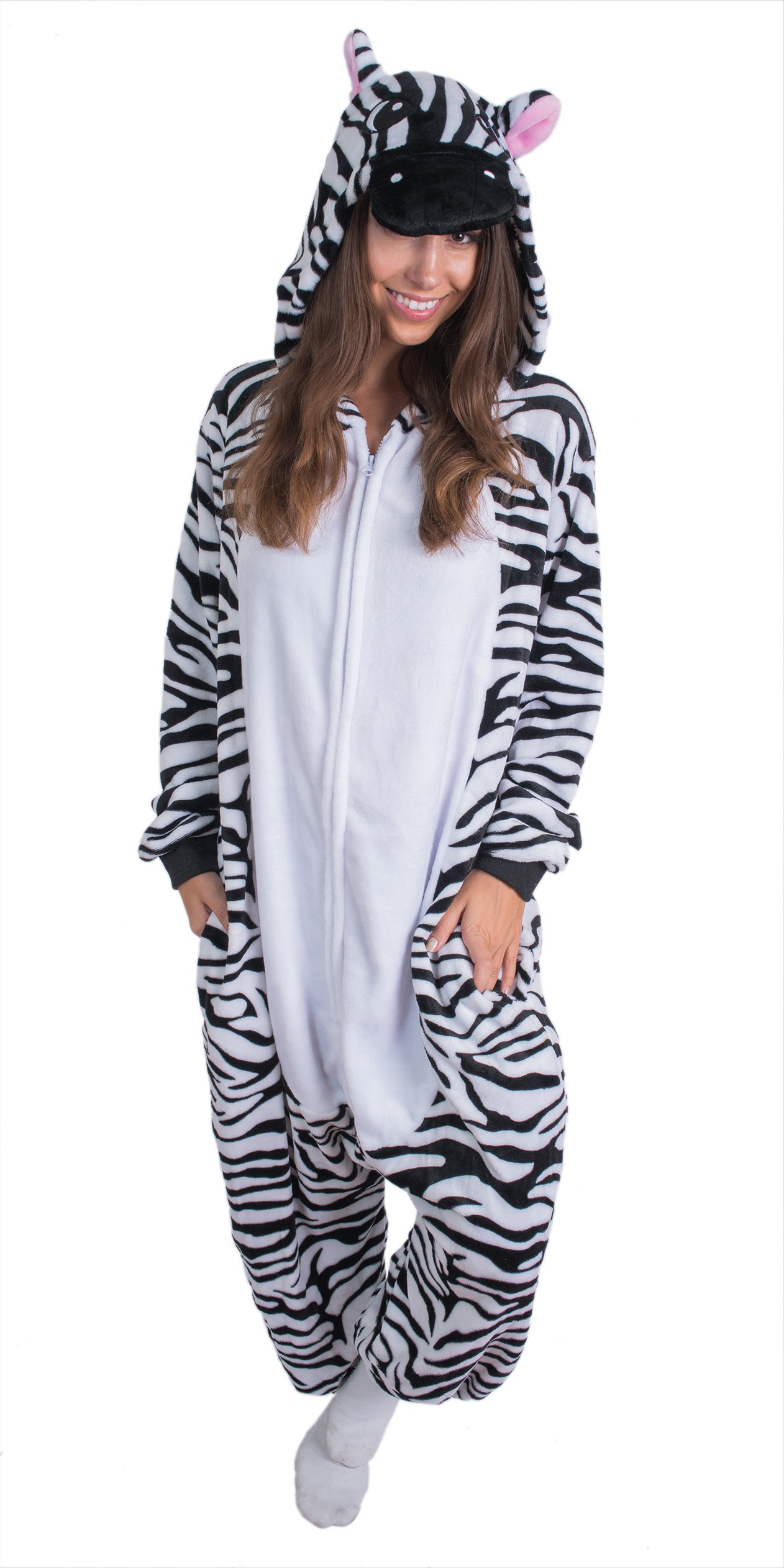 Bad Bear Brand Adult Onesie Zebra Animal Pajamas Comfortable Costume With Zipper and Pockets (Small)