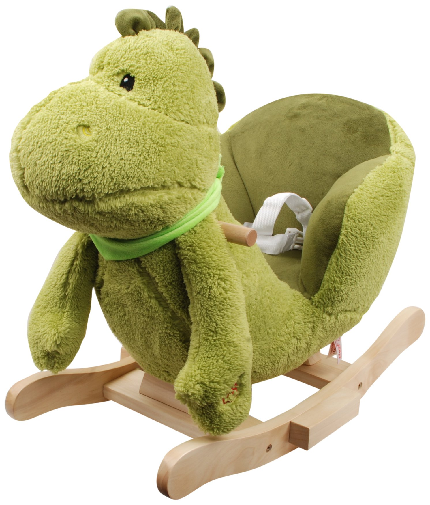 Linzy Plush Dinosaur Rocker Collection with Nursery Rhymes Sound Rocking Animal, Green, 24''