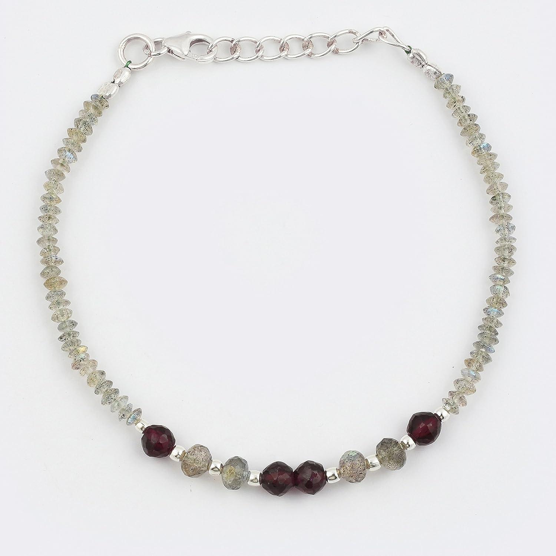 Labradorite Garnet Beads Bracelet with Sterling Silver findings Gemstone Jewelry Minimalist Bracelet