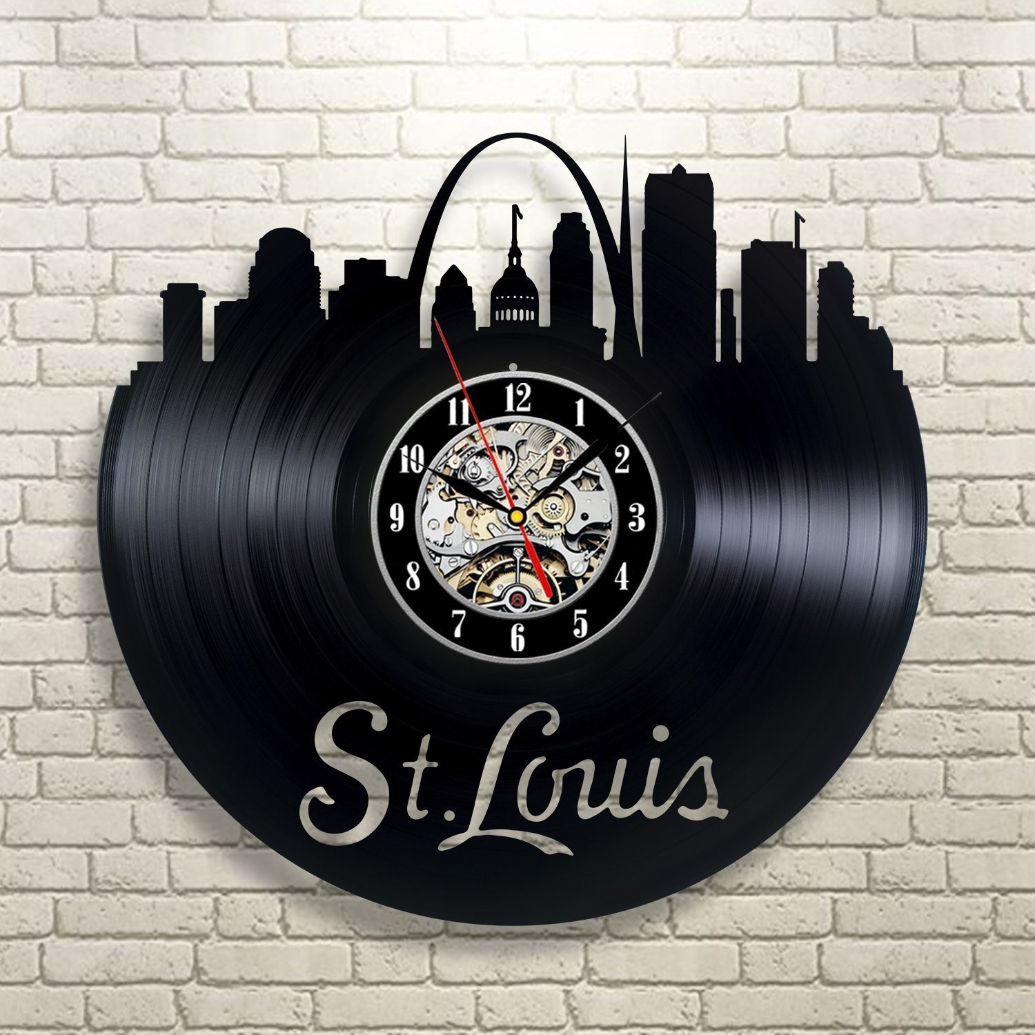 Amazon st louis city vinyl record clock wall decoration amazon st louis city vinyl record clock wall decoration modern vintage art room home kitchen amipublicfo Images