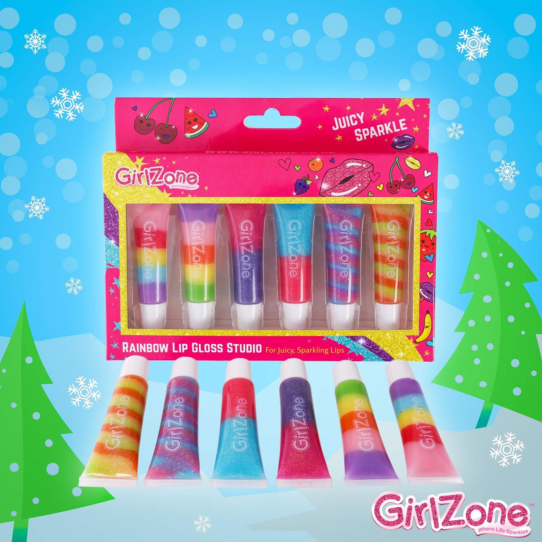 GirlZone: Regenbogen Glitzer Lipgloss 6er Set: Kinder Lippenstifte ...