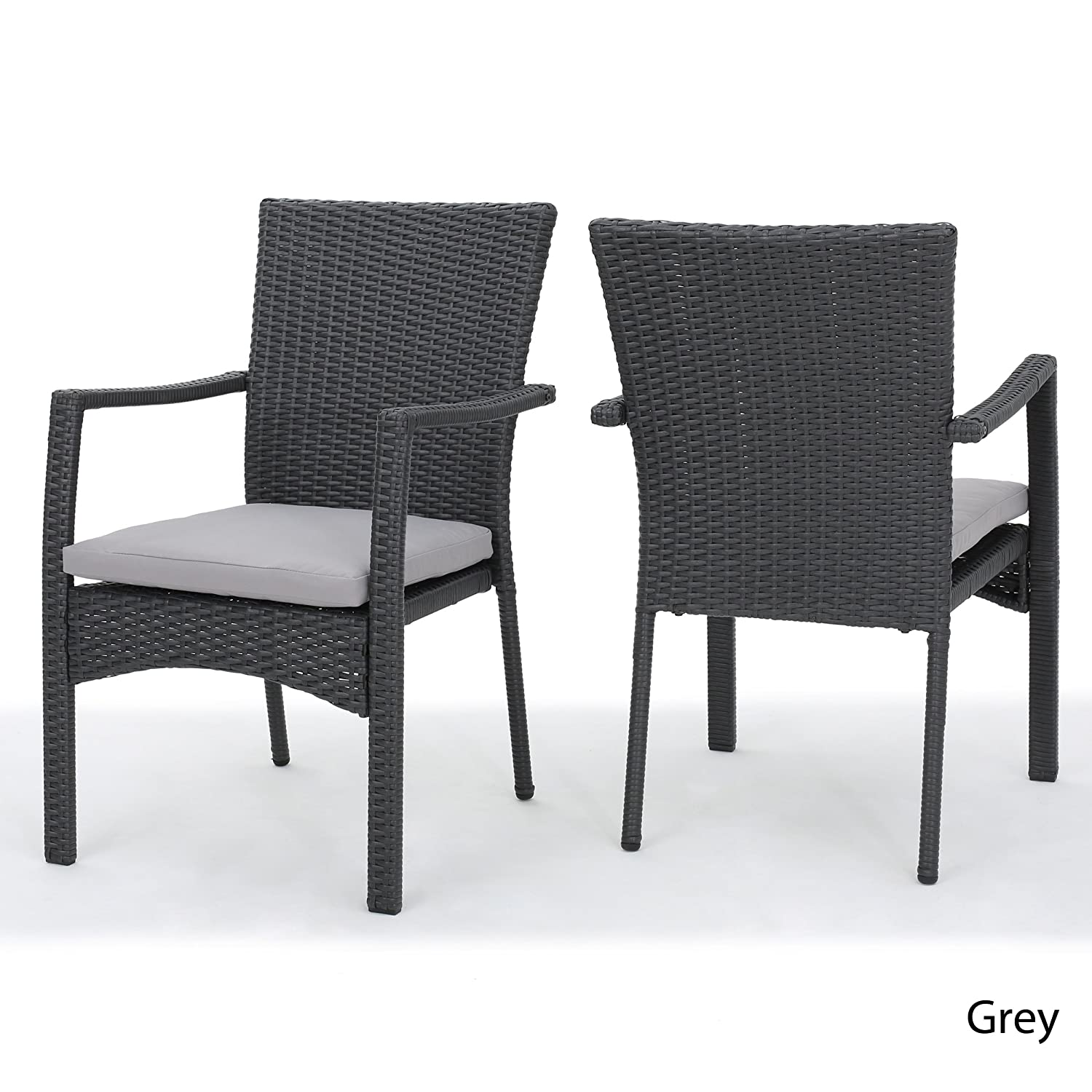 Amazon com tigua outdoor grey wicker dining chair with cushions set of 2 garden outdoor