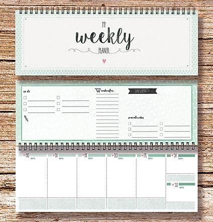 My Weekly Agenda verde mesa Calendario/agenda semanal horizontales ...