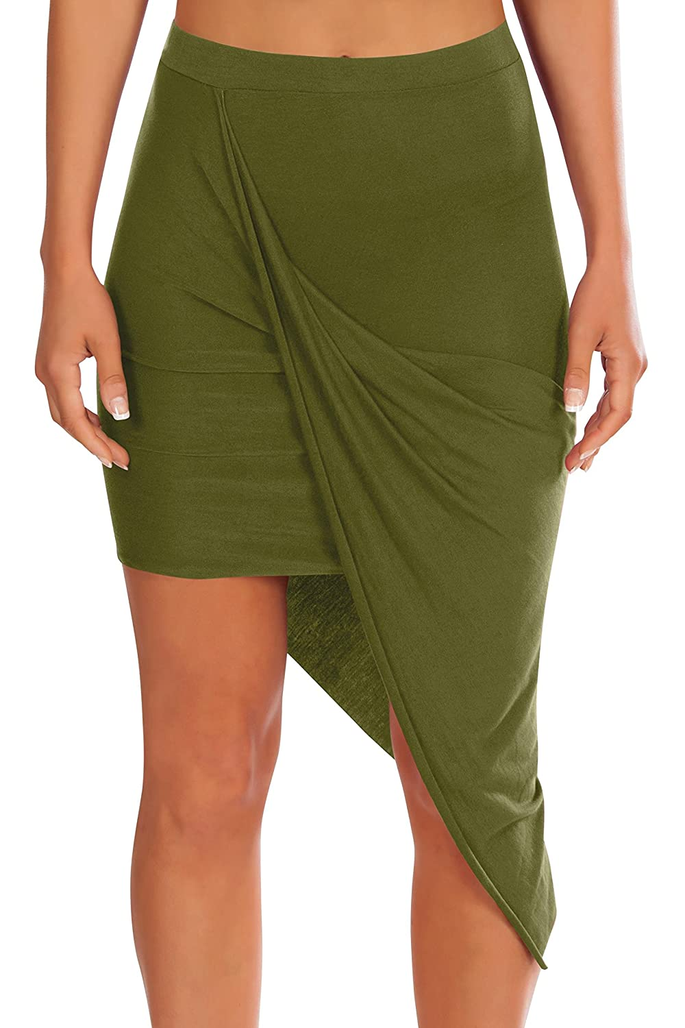 604b0a390 OCCASION - This tight fitting asymmetrical high low draped skirt for dressy  occasions. Wear to a party, club, wedding, date, or night out.
