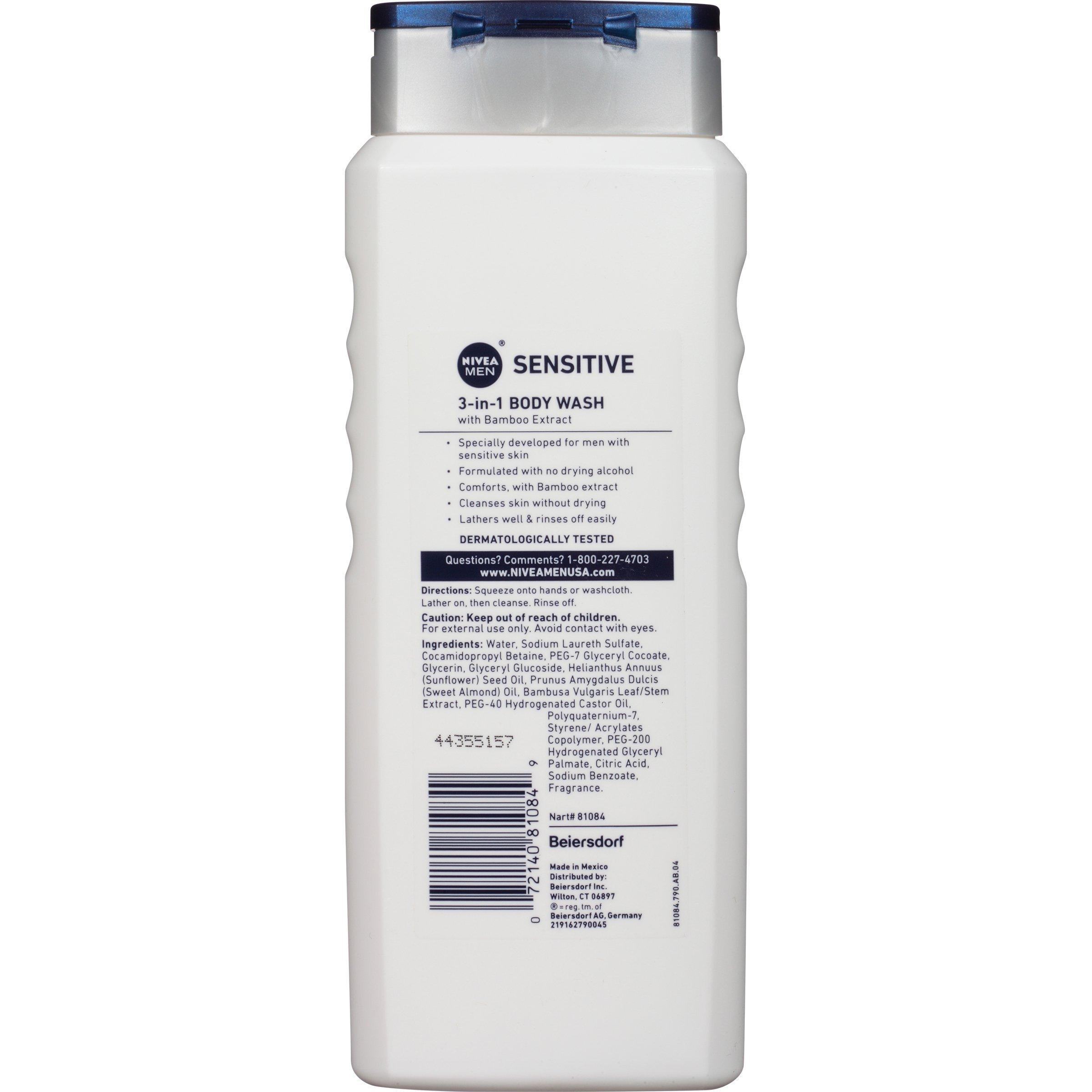 NIVEA Men Sensitive 3-in-1 Body Wash - Shower, Shampoo and Refresh, Soap and Dye-Free For Sensitive Skin - 16.9 fl. oz. (Pack of 3) by Nivea Men (Image #4)
