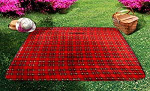 Imperial Home Soft Waterproof Picnic Blanket – Folding Travel Blanket with Carry Strap – Beach Blanket or Picnic Mat (Red, Black, White)