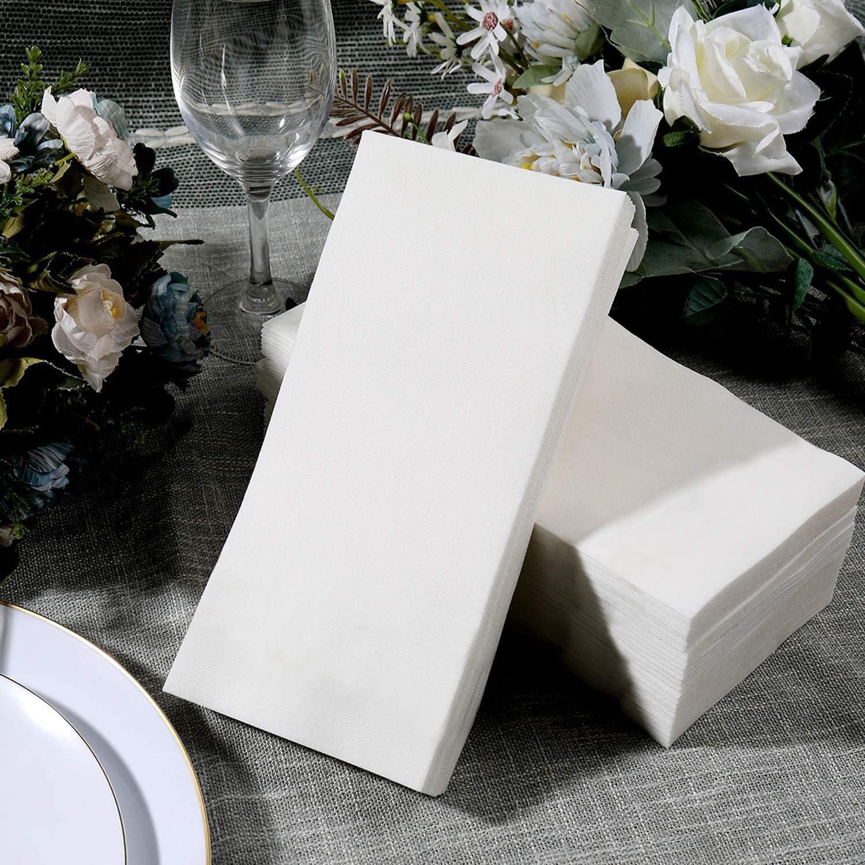 Disposable Linen Like Guest Towels | Bathroom napkins | Wedding napkins | Premium Linen Feel Disposable Guest Towels (White, 240)