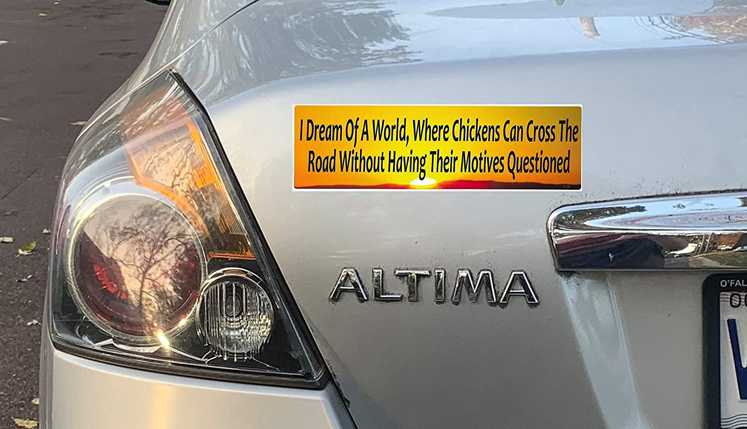 Gear Tatz I Dream of A World Where Chickens CAN Cross The Road Without Having Their Motives Questioned New Fun Funny Novelty Bumper//CAR Sticker//Decal for Cars for Trucks for Adults