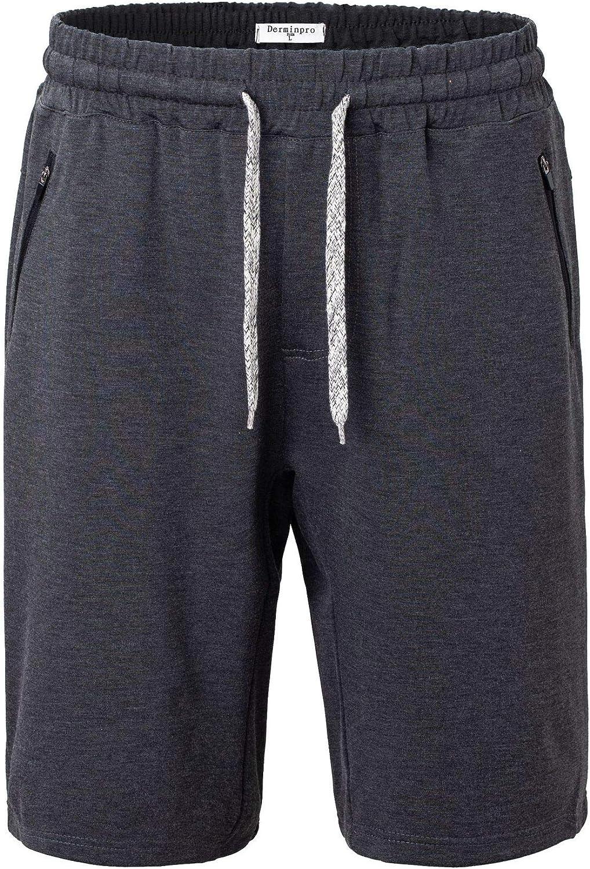Derminpro Men's Knitted Shorts Elastic Waist Workout Short Pants with Zip Pockets