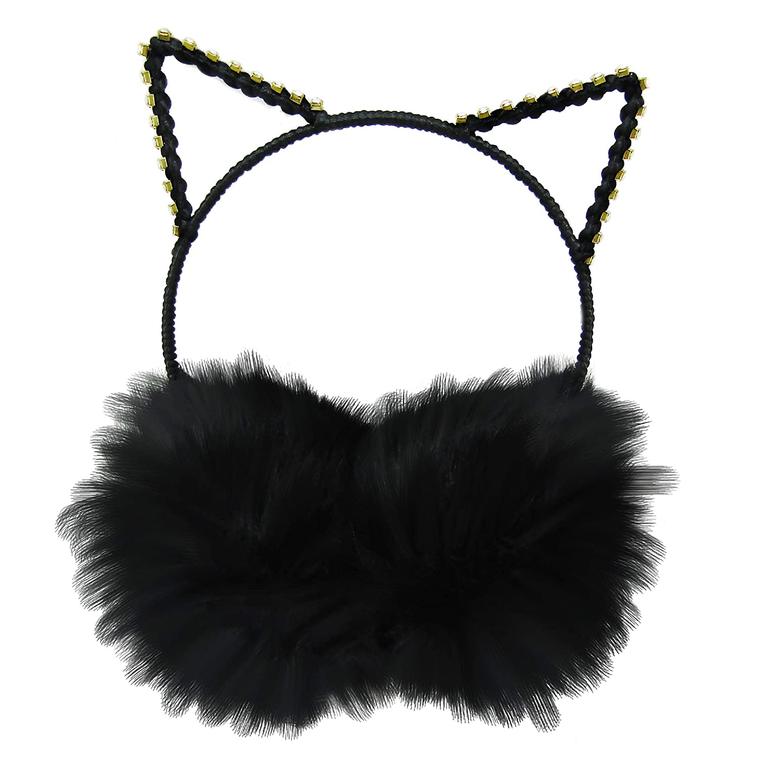 Winter Cat Ears Headband Black Cat Earmuffs Warm Fuzzy Cold Weather Accessory for Women and Girls XS Accessories 314786A-87