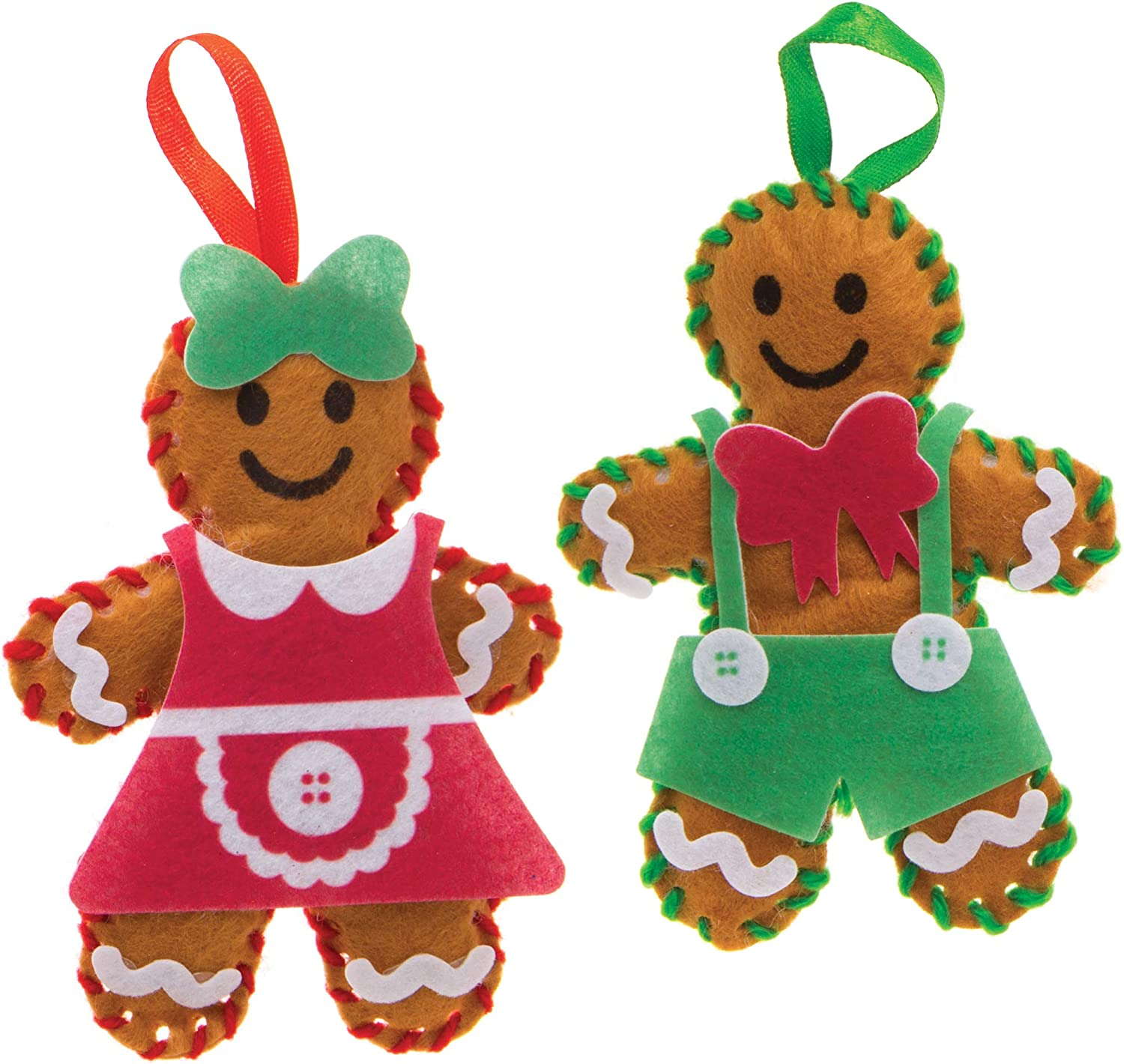Christmas Arts and Crafts Pack of 3 Baker Ross Gingerbread Decoration Sewing Kits