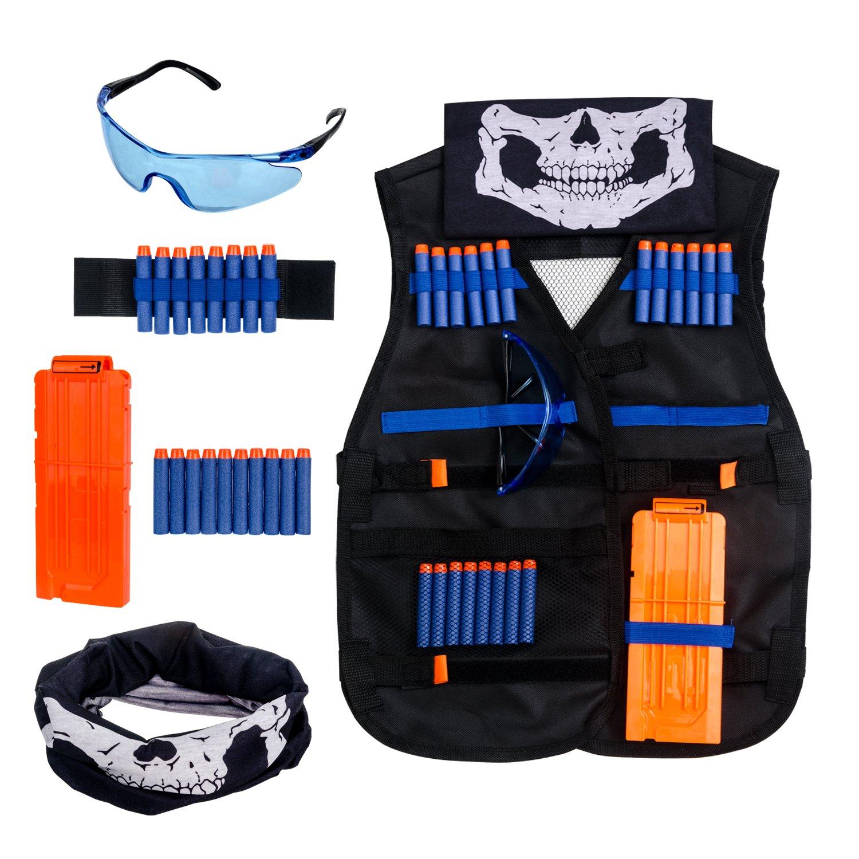 Noir Krisvie Gilet Tactique des Enfants Vest Jacket Kit de Gilet Tactique de Camouflage de Jungle denfants pour Le Pistolet de Jouet de Nerf N-Strike S/érie d/élite de Bataill