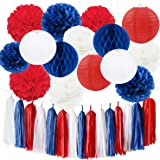 Red White Blue National Decorations Tassel Garland Tissue Paper Pom Pom Paper Paper Lantern Honeycomb Balls Paper Decoration for National Day Party Decorations Great Britain Union Jack Party Sporting Events Decorations