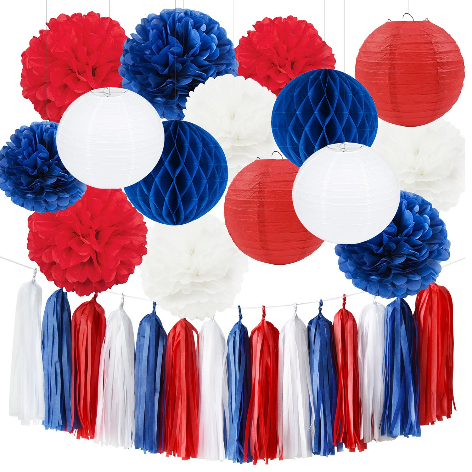 Navy Blue Mixed Red White 4th of July Decorations Patriotic Party Decorations Tissue Pom Pom Paper Lanterns Tassel Garland Fourth of July Party Favors Baby Shower Birthday Sail Boats Party Decorations by Furuix (Image #1)