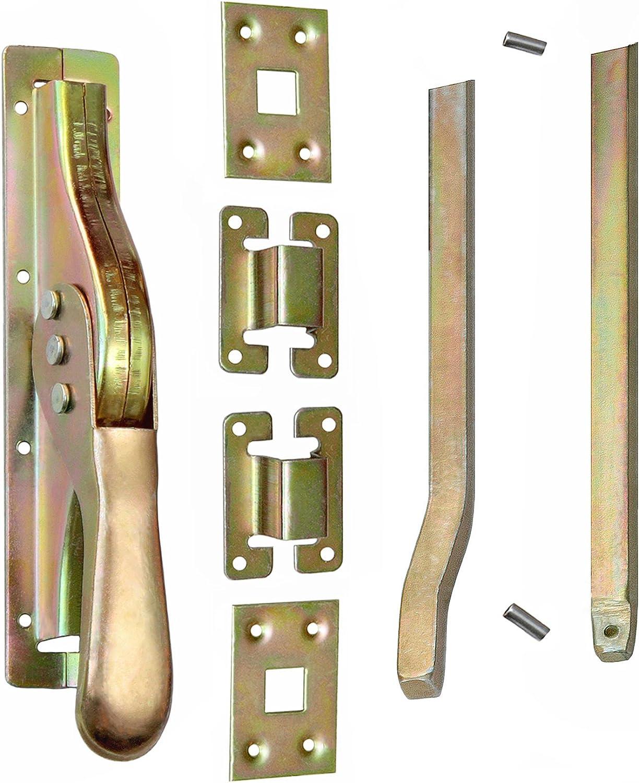 Set Tortreibriegel Torverschluss T/ürtreibriegel Stangen 2540 mm Vierkant 14 mm Gelb