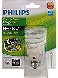 Philips 405852 Energy Saver Compact Fluorescent Dusk-to-Dawn 14-Watt Twister Light Bulb