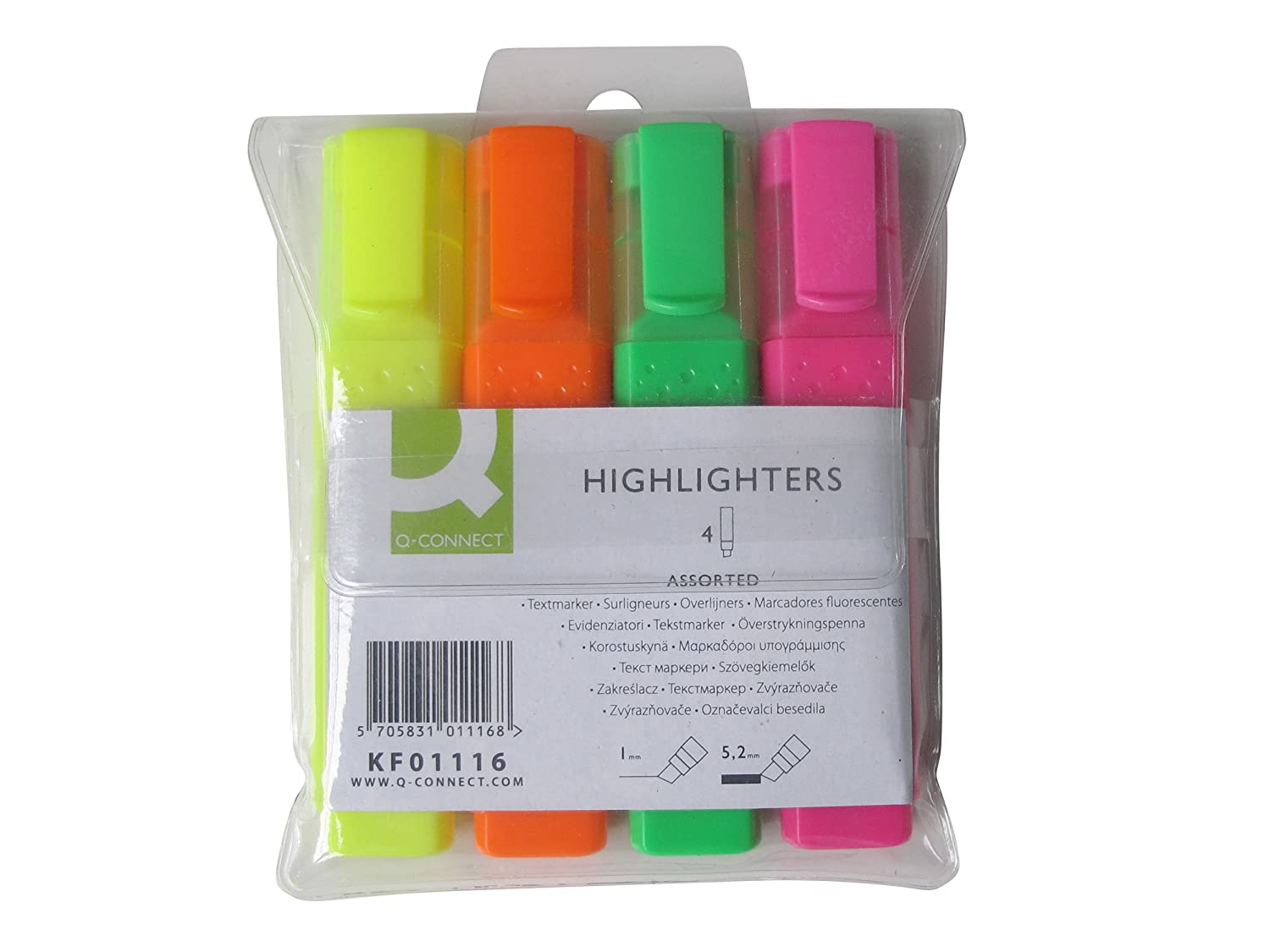Assorted Q-Connect Highlighter Pens KF01116 Pack of 4